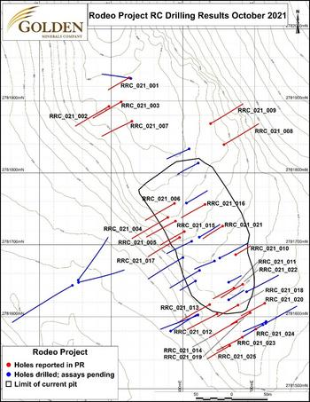Golden Minerals Drills 18m Grading 2.9 g/t Gold at Rodeo Gold-Silver Mine: https://mms.businesswire.com/media/20211019005240/en/917551/5/Figure_1_Drill_Map.jpg