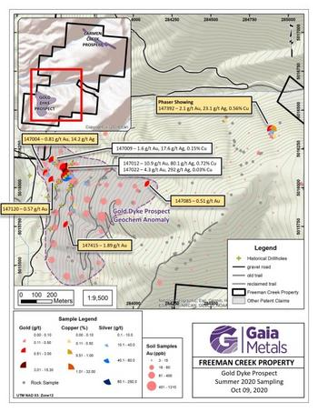 Gaia Metals Collars First Drill Hole at the Gold Dyke Prospect, Freeman Creek Gold Property, Idaho, USA : https://www.irw-press.at/prcom/images/messages/2020/53981/October_27_2020_PRcom.001.jpeg