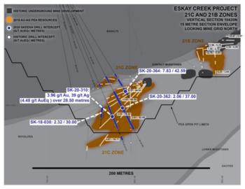 Skeena Intersects 4.48 g/t AuEq over 28.50 metres at Eskay Creek: https://www.irw-press.at/prcom/images/messages/2020/53983/27102020_Skeena_EN_PRcom.003.png