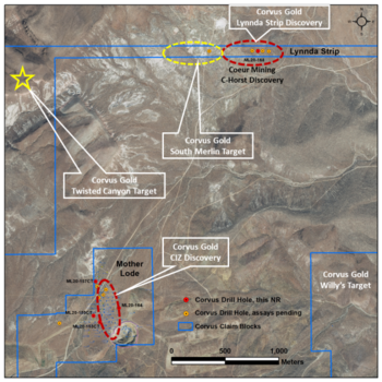 Corvus Gold's New Oxide Discovery at the Lynnda Strip Drills 106.7 Metres @ 0.71 g/t Gold and 48.8 Metres @ 0.9 g/t Gold and Identifies a Potential Connected System 700 Metres West: https://www.irw-press.at/prcom/images/messages/2020/54018/KOR_291020_ENPRcom.001.png