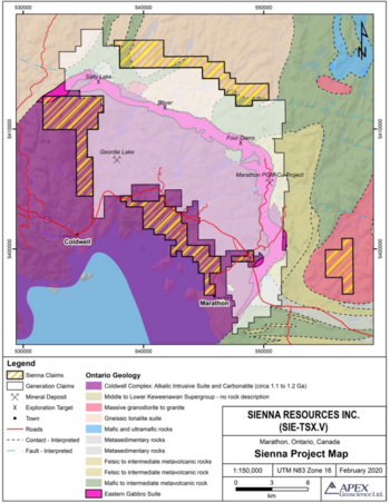 Sienna Commences Operations on its Marathon North Platinum-Palladium Project in Ontario: https://www.irw-press.at/prcom/images/messages/2020/53971/2020-10-27_SIE_enPrcom.001.png