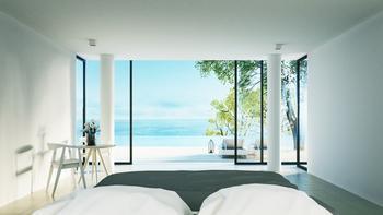 Room Growth Undergirds Hyatt's Second-Quarter Performance: https://g.foolcdn.com/editorial/images/533948/minimalist-hotel-room-overlooking-tropical-sea.jpg